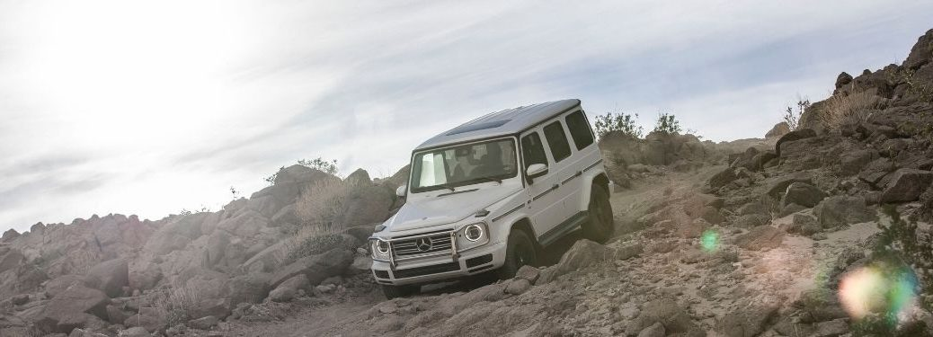 2020 MB G-Class exterior front fascia driver side going down hill off road