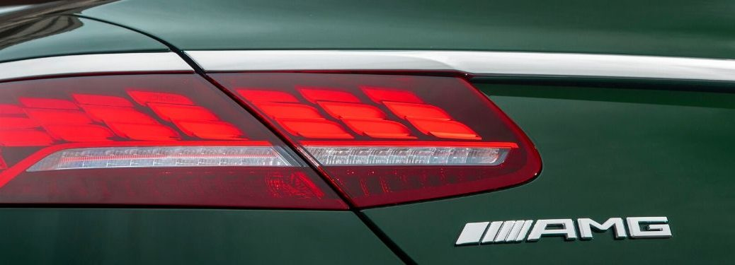 Close up of taillight and AMG badge of Mercedes-Benz model