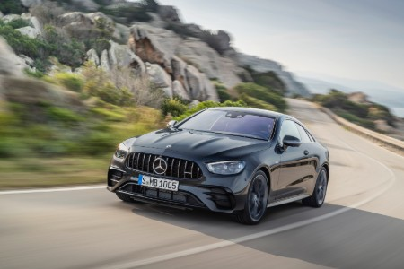 2021 MB E-Class Coupe exterior front fascia driver side on blurred highway_o