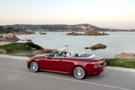 2021 MB E-Class Cabriolet exterior rear fascia driver side in front of lake