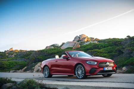 2021 MB E-Class Cabriolet exterior front fascia passenger side on highway