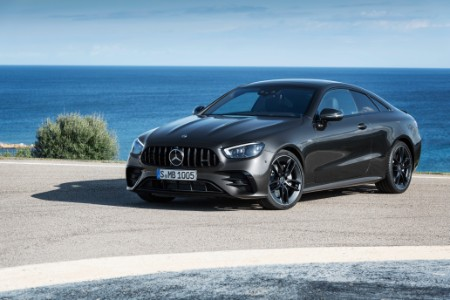 2021 E-Class Copue exterior front fascia driver side in front of ocean