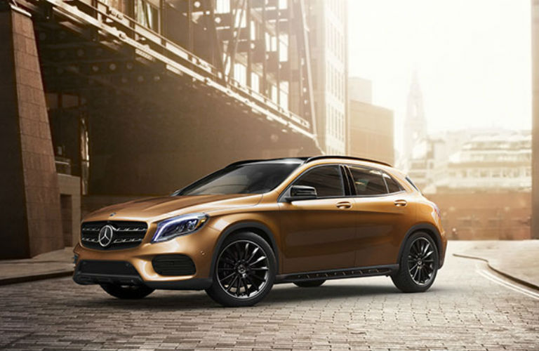 2018 MB GLA exterior front fascia driver side on brick road in city
