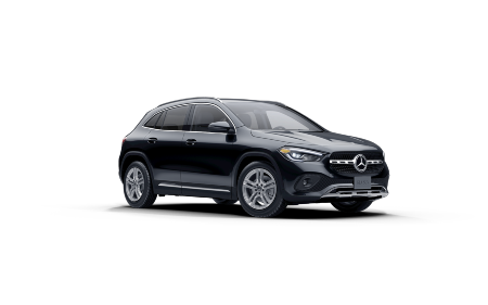 Cosmos Black Metallic 2021 MB GLA exterior front fascia passenger side on blank canvas
