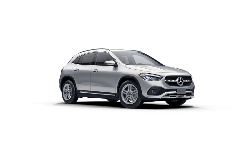 Iridium-Silver-Metallic 2021 MB GLA exterior front fascia passenger side on blank canvas