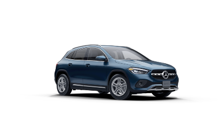 Denim Blue Metallic 2021 MB GLA exterior front fascia passenger side on blank canvas