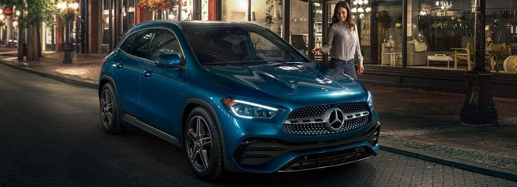 2021 MB GLA exterior front fascia passenger side on town road