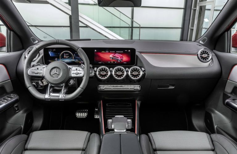 2021 MB GLA interior front cabin steering wheel and dashboard