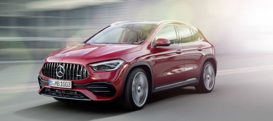 2021 MB AMG GLA 35 exterior front fascia driver side on blurred highway