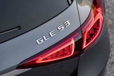 2021 MB GLE Coupe exterior close up of bade above taillight