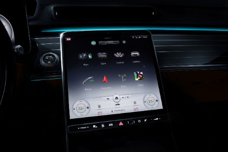2021 MB S-Class interior touchscreen display with ambient lighting