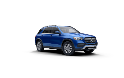 brilliant blue metallic 2021 MB GLE SUV exterior front fascia passenger side