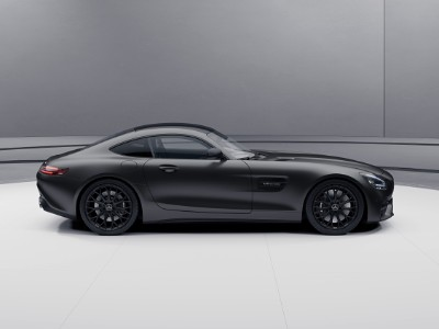 2021 MB AMG GT Stealth Edition exterior passenger side profile in gray room