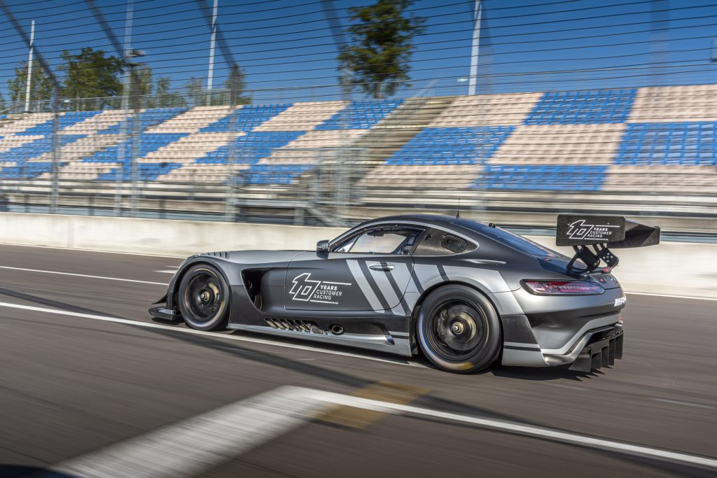 2020 MB GT3 Race Car exterior driver side on racetrack