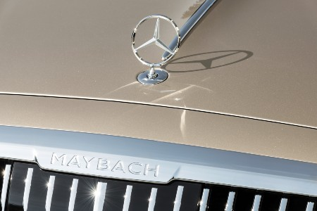 2021 MB S-Class close up of upright logo on hood