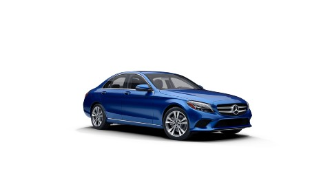 Briliant Blue metallic 2021 MB C-Class exterior front fascia passenger side