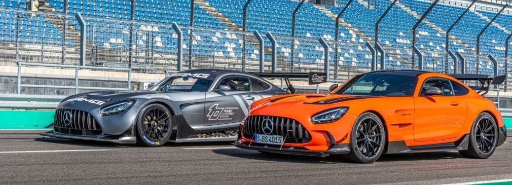 MB GT Black Series 2 models exterior front fascia driver side in racetrack stadium