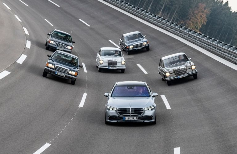 2022 MB S-Class with earlier year models on racetrack