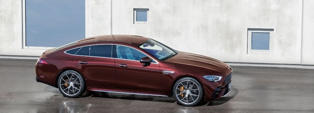 2022 MB AMG GT exterior front fascia passenger side in front of building