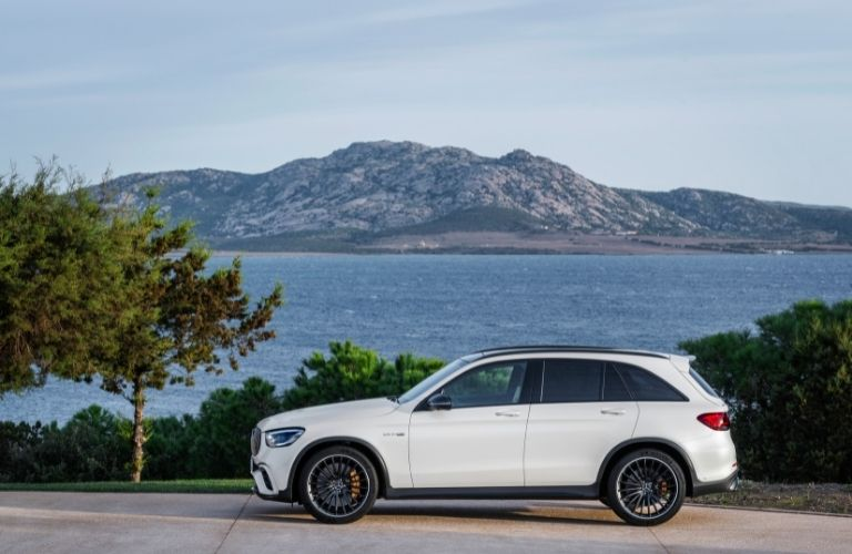 2022 MB GLC exterior driver side profile in front of water and mountain