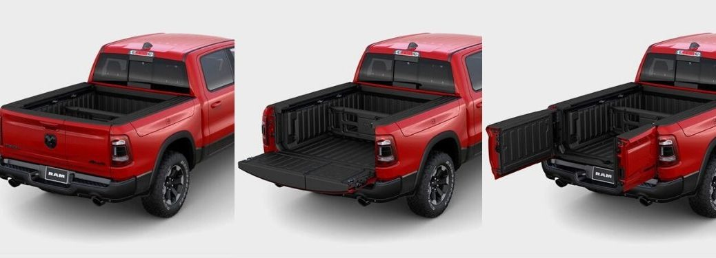 Red 2020 Ram 1500 on White Background with Multifunction Tailgate Closed, Down and Open with Swing Doors
