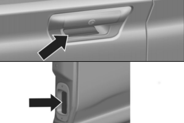 Diagram of How To Open the Ram 1500 Multifunction Tailgate from the Owner's Manual