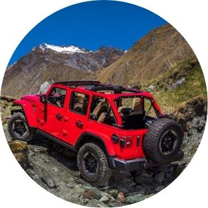 Red 2020 Jeep Wrangler Rear Exterior on Rocky Mountain Trail