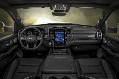 2020 Ram 1500 black appearance package interior front seat and dashboard area