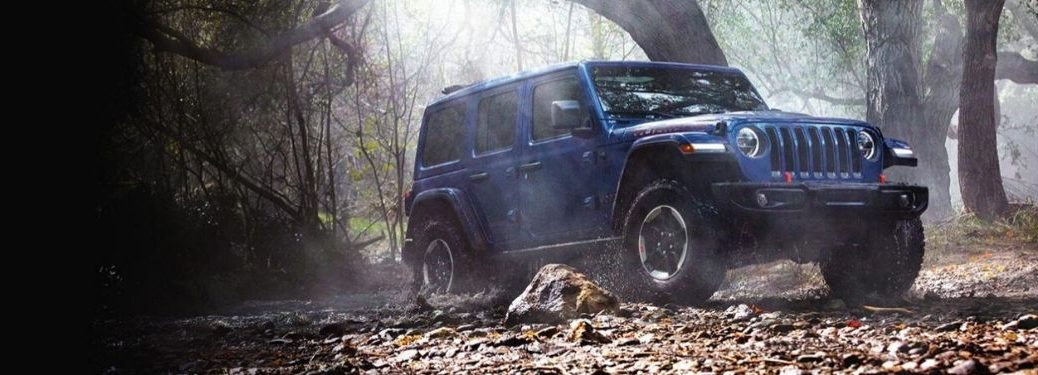 Blue 2020 Jeep Wrangler Unlimited in the Woods