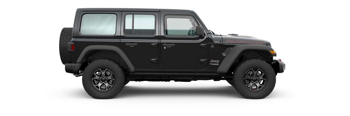 Black 2020 Jeep Wrangler Unlimited Side Exterior on White Background