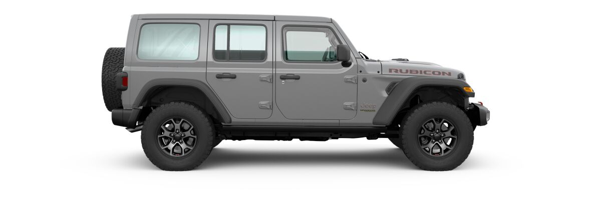 Sing-Gray 2020 Jeep Wrangler Unlimited Side Exterior on White Background