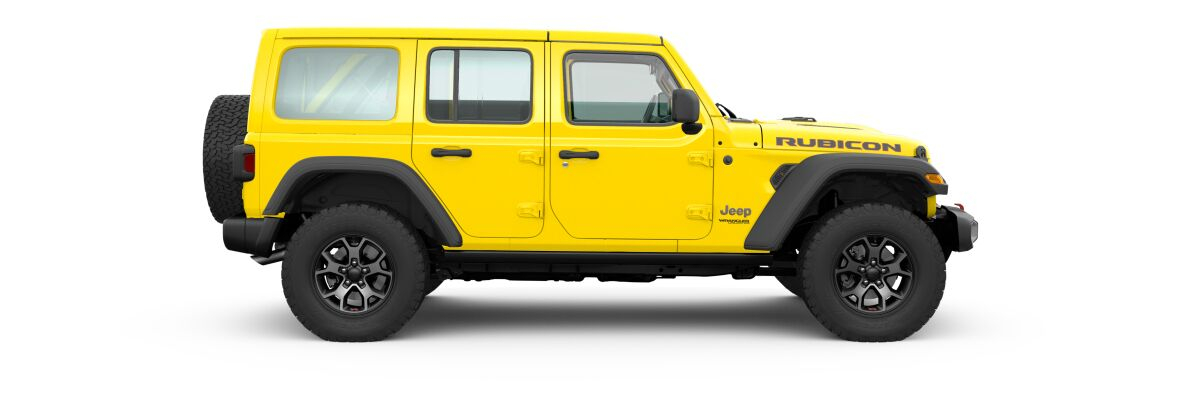 Hellayella 2020 Jeep Wrangler Unlimited Side Exterior on White Background