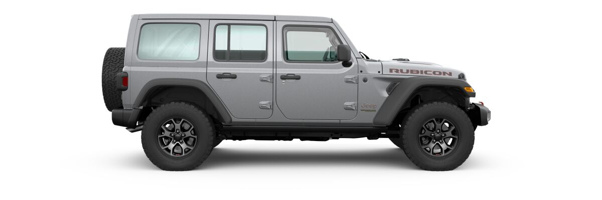 Billet Silver Metallic 2020 Jeep Wrangler Unlimited Side Exterior on White Background