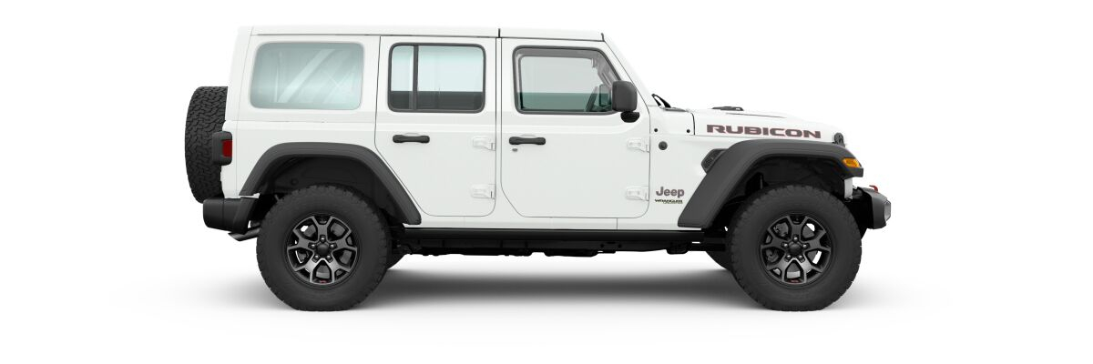 Bright White 2020 Jeep Wrangler Unlimited Side Exterior on White Background