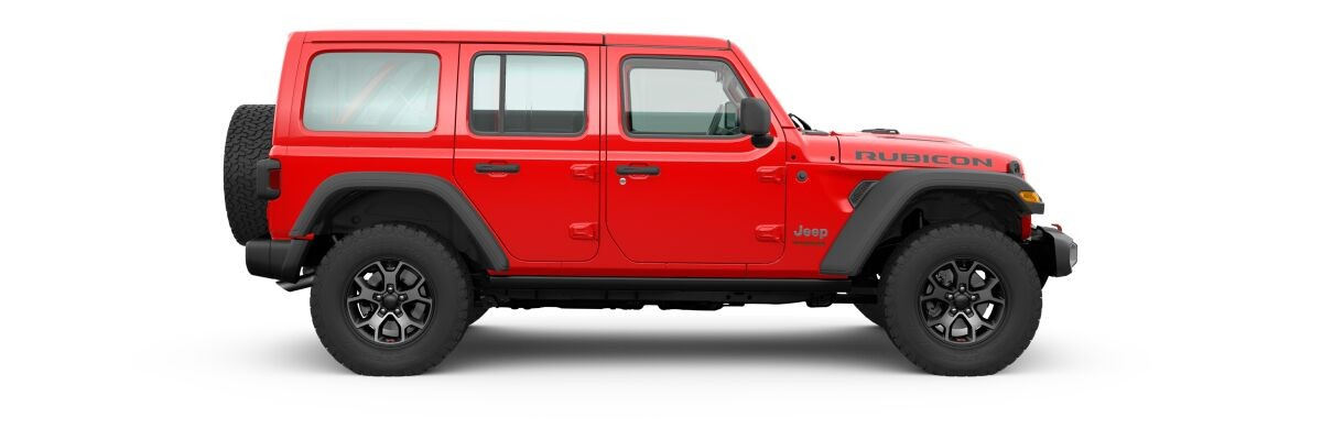 Firecracker Red 2020 Jeep Wrangler Unlimited Side Exterior on White Background