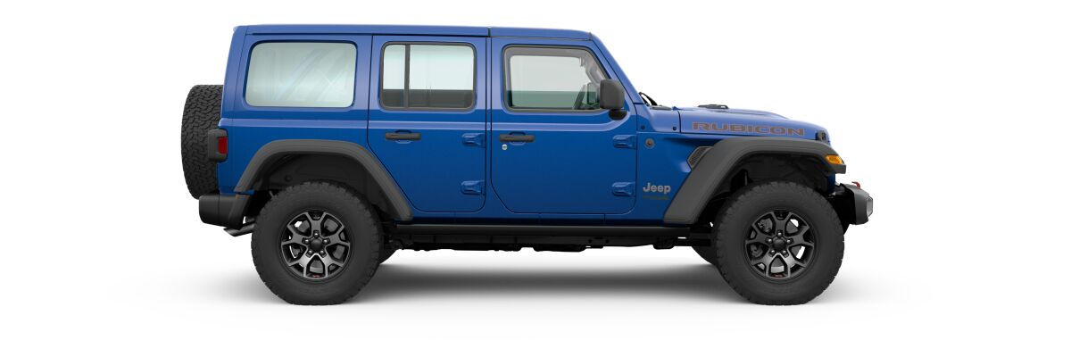 Ocean Blue Metallic 2020 Jeep Wrangler Unlimited Side Exterior on White Background