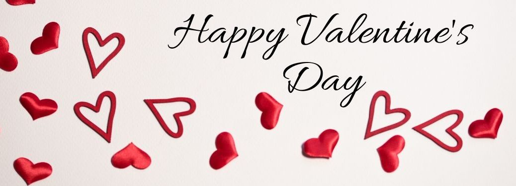 Red Hearts on White Background with Black Happy Valentine's Day Script