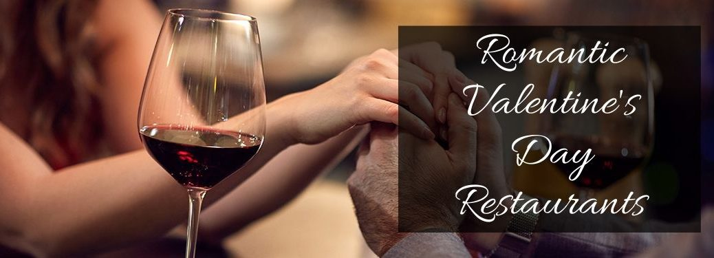 Couple Holding Hands at Dinner with a Glass of Wine and Black Text Box with White Romantic Valentine's Day Restaurants Script