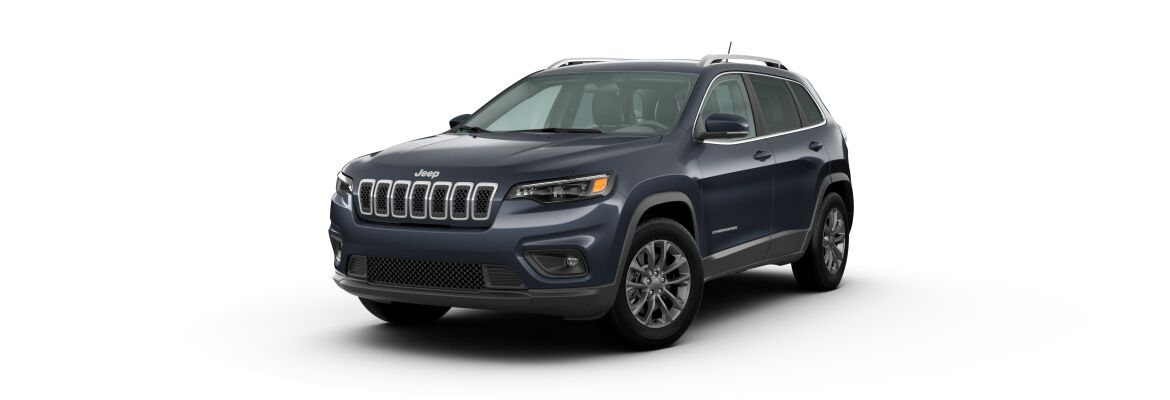 Blue Shade Pearl 2020 Jeep Cherokee on White Background