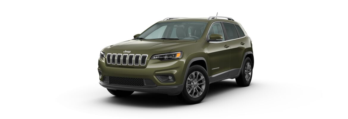 Olive Green Pearl 2020 Jeep Cherokee on White Background