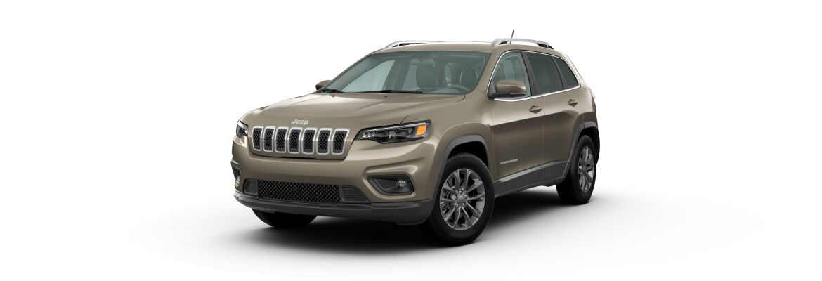 Light Brownstone Pearl 2020 Jeep Cherokee on White Background