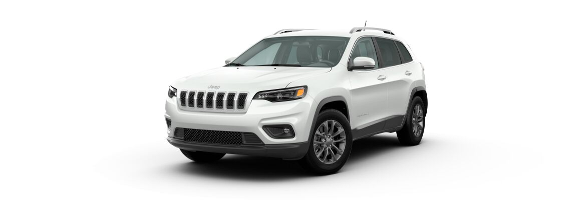 Bright White 2020 Jeep Cherokee on White Background