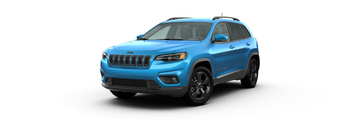 Hydro Blue Pearl 2020 Jeep Cherokee on White Background
