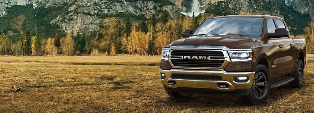 Brown 2019 Ram 1500 in a Field in Front of Mountains
