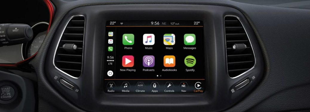 Uconnect Apple CarPlay screen in a Jeep model