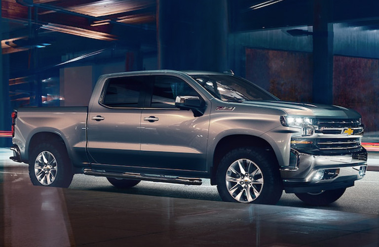 Profile view of silver 2019 Chevrolet Silverado 1500