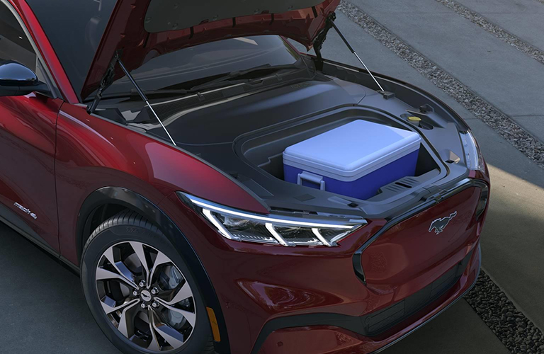 2021 Ford Mustang Mach-E with hood open and cooler inside