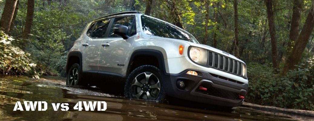 AWD vs 4WD text with 2020 Jeep Renegade driving through stream