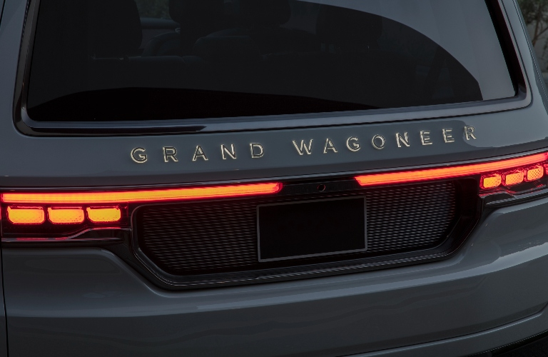 Grand Wagoneer lettering on the back of the new Jeep vehicle