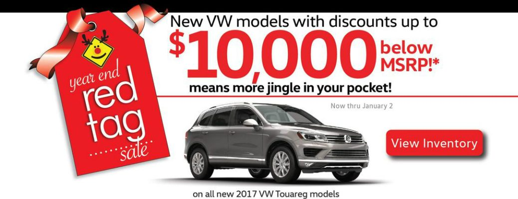 Year End Red Tag Sale Label and Grey 2017 Volkswagen Touareg